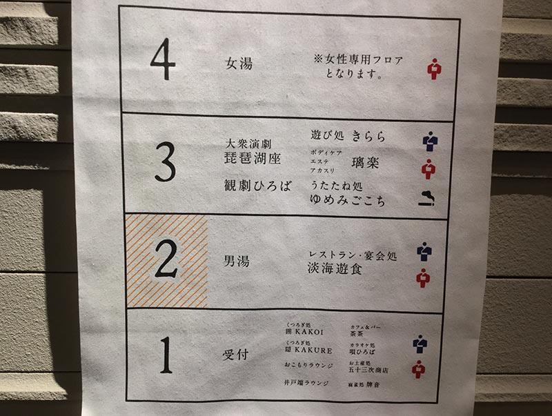 大津温泉 おふろcafe びわこ座の館内図